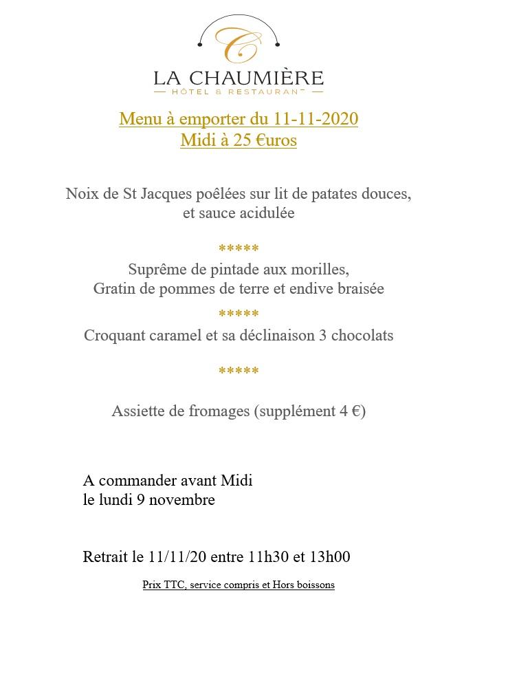 Restaurant Menu du 11 novembre 2020