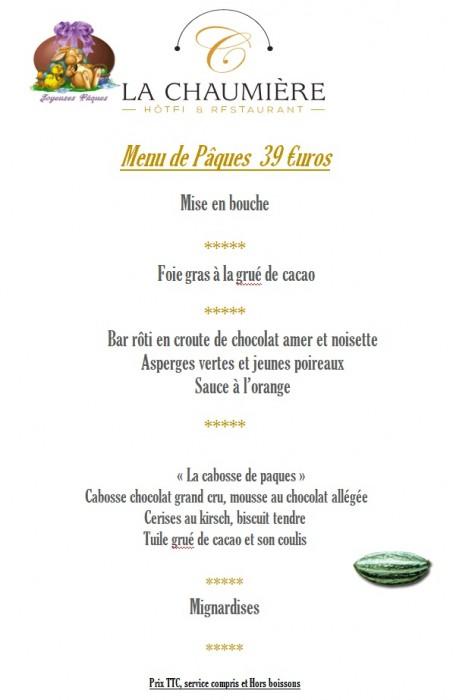 Menu de Paques en Vendée à 39€
