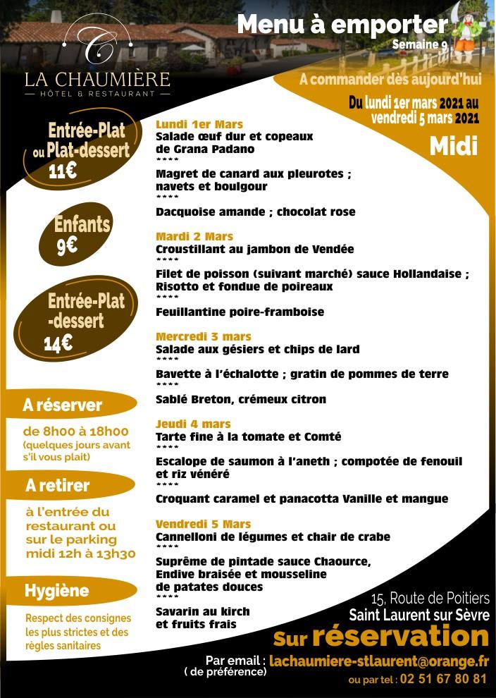 Menu à emporter restaurant saint laurent sur sèvre près du Puy du Fou